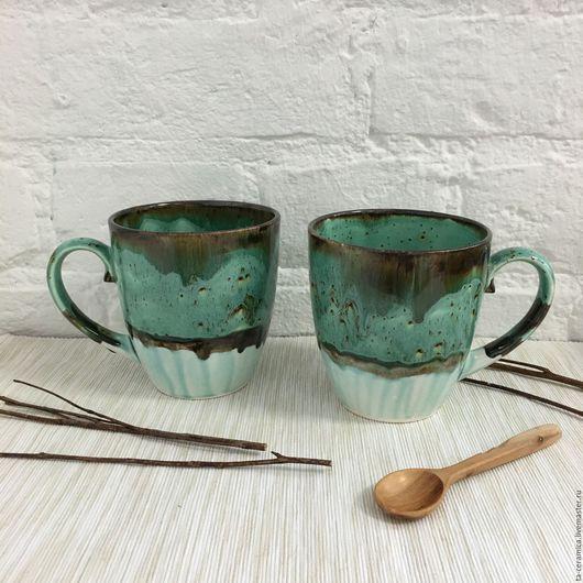 Кружки и чашки ручной работы. Ярмарка Мастеров - ручная работа. Купить Чашка бирюзовая в крапинку. Handmade. Посуда, посуда из глины