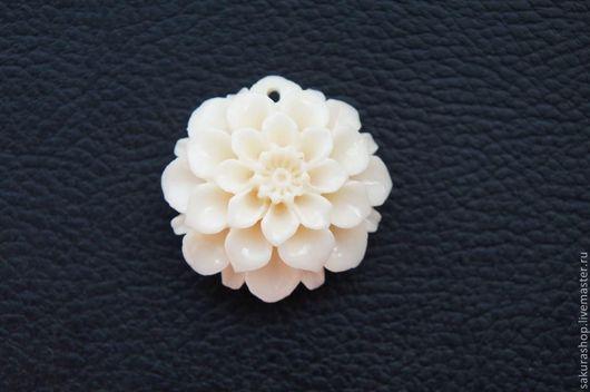 Для украшений ручной работы. Ярмарка Мастеров - ручная работа. Купить Цветок коралл прессованный 35х35 мм. Handmade. Кремовый