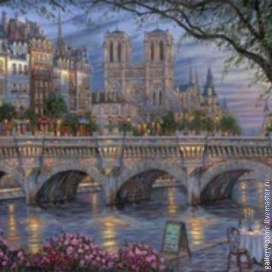 Другие виды рукоделия ручной работы. Ярмарка Мастеров - ручная работа. Купить Картина по номерам Вечером по реке. Handmade.
