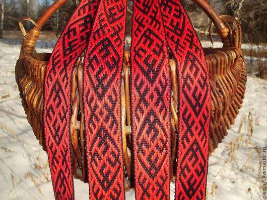 """Одежда ручной работы. Ярмарка Мастеров - ручная работа. Купить Пояс """"Ратиборец"""" чёрно-красный. Handmade. Ткачество на бердо"""
