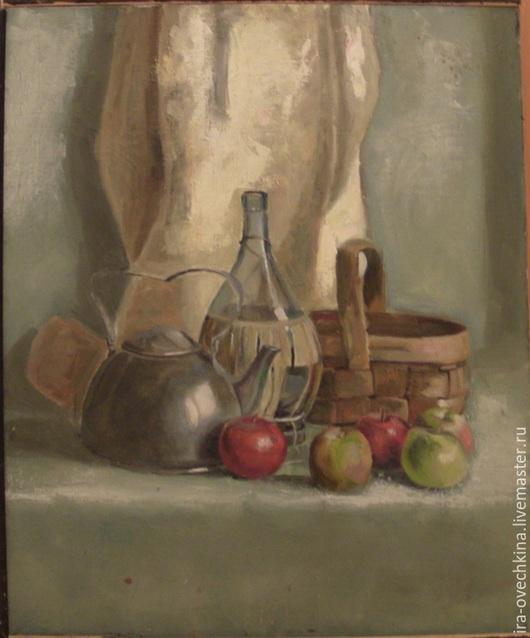 Натюрморт ручной работы. Ярмарка Мастеров - ручная работа. Купить Натюрморт с чайником. Handmade. Морская волна, алюминий, яблоки, чайник