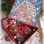 Подарки к праздникам ручной работы. Ярмарка Мастеров - ручная работа Набор елочных игрушек Пряничный домик. Handmade.