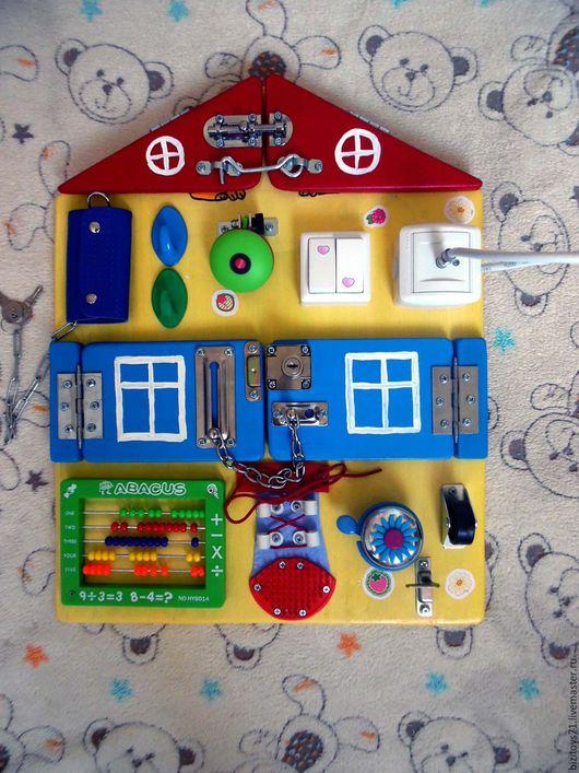 Развивающие игрушки ручной работы. Ярмарка Мастеров - ручная работа. Купить Бизиборд домик. Handmade. Желтый, бизиборд