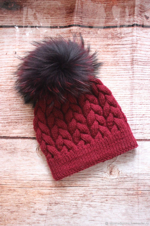 Hat with fur pompom, Caps, Stupino,  Фото №1