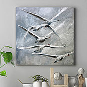 Картины и панно handmade. Livemaster - original item Geese, painting with birds, oil on canvas.. Handmade.