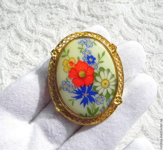 Винтажные украшения. Ярмарка Мастеров - ручная работа. Купить Брошь-кулон Камея с букетом цветов,США,цветы,цветочки,подвеска,подарок. Handmade.
