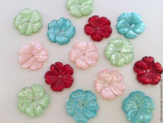 Для украшений ручной работы. Ярмарка Мастеров - ручная работа. Купить Перламутр цветок резной разноцветный. Handmade. Перламутр