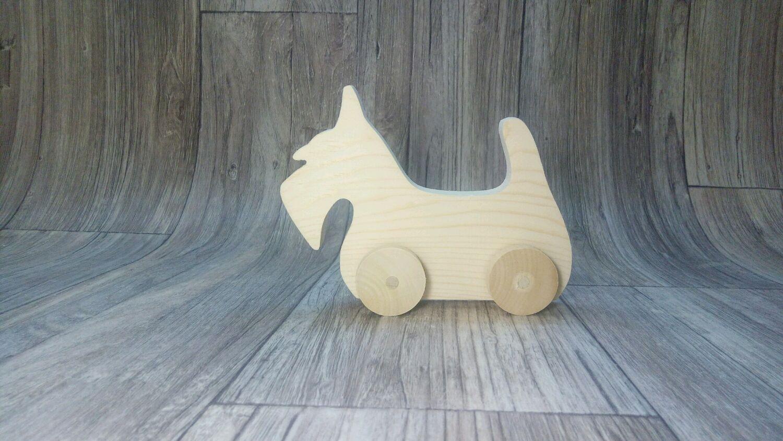 Собака-каталка (скотч- терьер) , деревянная игрушка ручной работы, Заготовки для декупажа и росписи, Реутов,  Фото №1