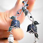 Серебряные серьги с топазами London blue Италия BLUE LILY