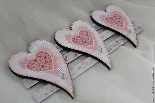 """Кухня ручной работы. Ярмарка Мастеров - ручная работа. Купить Крючечки """"Сердечки"""". Handmade. Бледно-розовый, крючки, сердечки, сердце"""