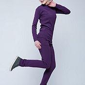 Одежда ручной работы. Ярмарка Мастеров - ручная работа Фиолетовый вязаный костюм для зимы. Handmade.