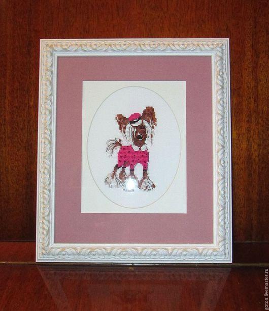 Животные ручной работы. Ярмарка Мастеров - ручная работа. Купить Вышитая картина Хохлатая модница. Handmade. Розовый, собака
