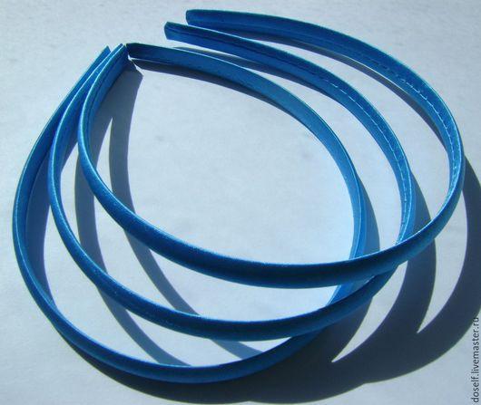 Для украшений ручной работы. Ярмарка Мастеров - ручная работа. Купить Ярко-голубая(бирюзовая) Основа для ободка в атласе 1см. Handmade.
