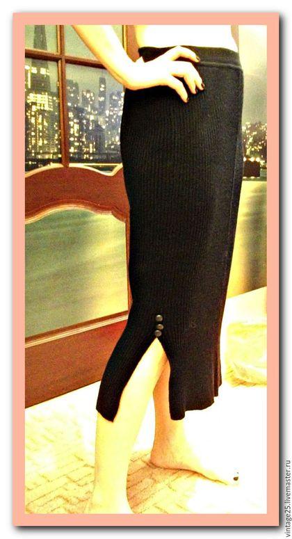 Одежда. Ярмарка Мастеров - ручная работа. Купить Черная вязанная юбка миди узкая. Handmade. Черный, черная юбка