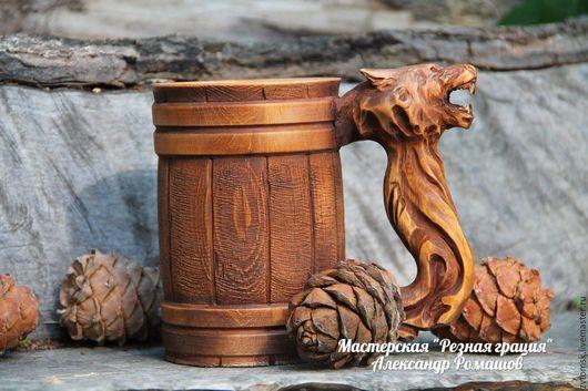 Кружки и чашки ручной работы. Ярмарка Мастеров - ручная работа. Купить Резная кружка - волк. Handmade. Комбинированный, охотник
