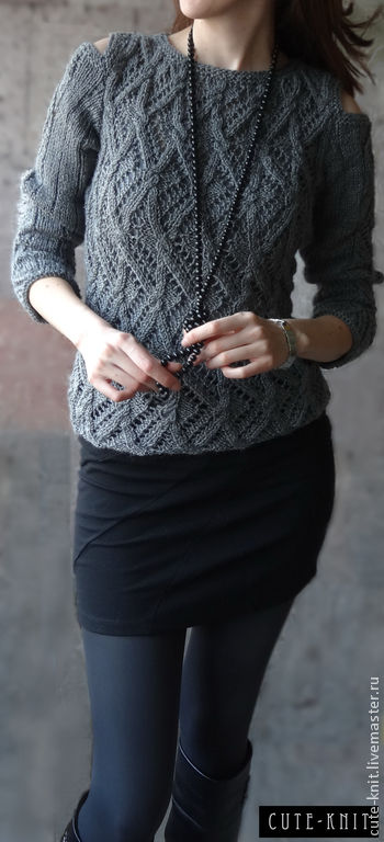 To better visualize the model, click on photo CUTE-KNIT NAT Onipchenko Fair masters to Buy grey knitted jumper