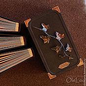 Фотоальбомы ручной работы. Ярмарка Мастеров - ручная работа Тройной фотоальбом в коробе (кожа, латунь). Handmade.