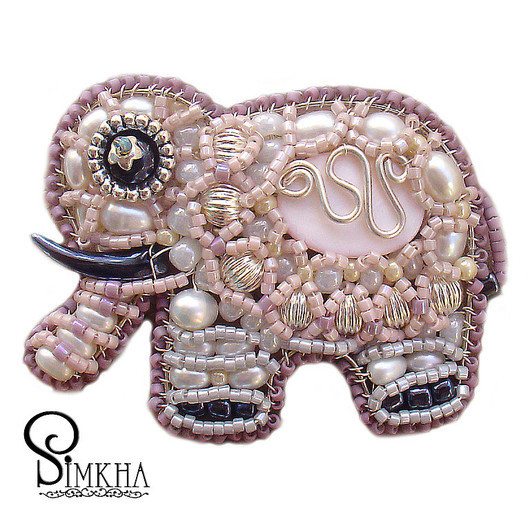 Brooches handmade. Livemaster - handmade. Buy Brooch 'Elephant pale pink, dreamy'.Elephant, elephant, winter, white, pink, brooch