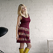 Одежда handmade. Livemaster - original item Burgundy wool dress from the collection