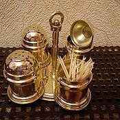 Для дома и интерьера ручной работы. Ярмарка Мастеров - ручная работа Солонка, перечница, сахарница из латуни. Handmade.