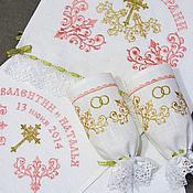 Свадебный салон handmade. Livemaster - original item Set for wedding (peach gold embroidery). sku: 0226-1. Handmade.