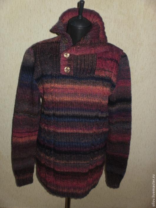 Для мужчин, ручной работы. Ярмарка Мастеров - ручная работа. Купить Очень теплый вязаный свитер 102. Handmade. Абстрактный