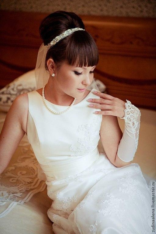 Свадебные украшения ручной работы. Ярмарка Мастеров - ручная работа. Купить Лента для свадебной прически. Handmade. Бежевый, лента для волос