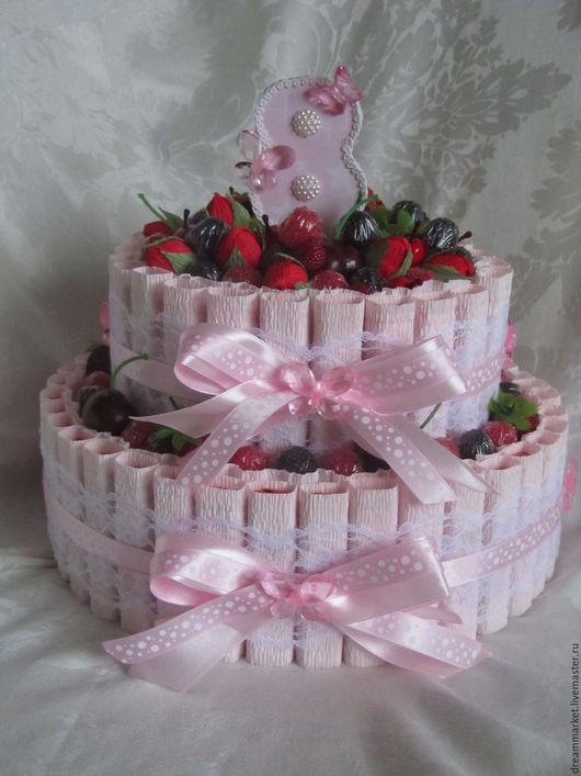 Букеты ручной работы. Ярмарка Мастеров - ручная работа. Купить Торт-шкатулка из конфет. Handmade. Бледно-розовый, подарок женщине