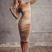 Платье водолазка бархатное миди