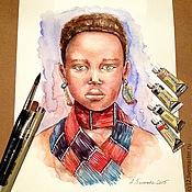 Картины и панно ручной работы. Ярмарка Мастеров - ручная работа Картина акварелью: Африканка. Handmade.