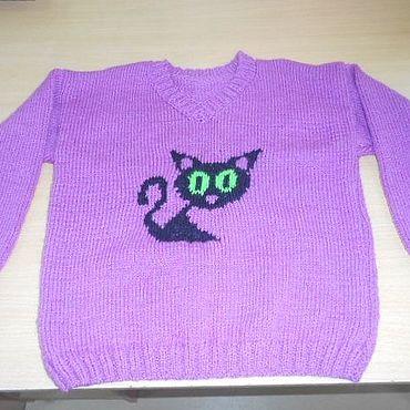 Одежда ручной работы. Ярмарка Мастеров - ручная работа Джемпер с котиком. Handmade.