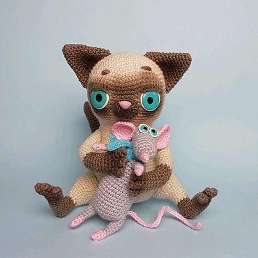 Куклы и игрушки ручной работы. Ярмарка Мастеров - ручная работа Кот и мышонок. Handmade.