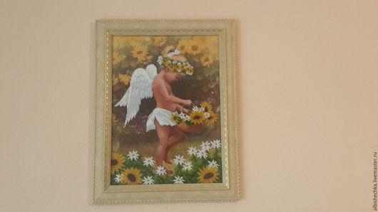 """Символизм ручной работы. Ярмарка Мастеров - ручная работа. Купить Картина бисером """"Ангелочек"""". Handmade. Ангел, картина из бисера, желтый"""