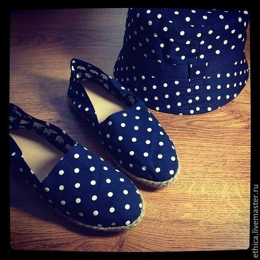 Обувь ручной работы. Ярмарка Мастеров - ручная работа. Купить Эспадрильи Синий горох. Handmade. Тёмно-синий, ярко, тапочки