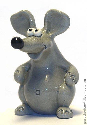 Миниатюра ручной работы. Ярмарка Мастеров - ручная работа. Купить Мышка. Handmade. Мышка, крыса, серый, мышь, фигурка, статуэтка