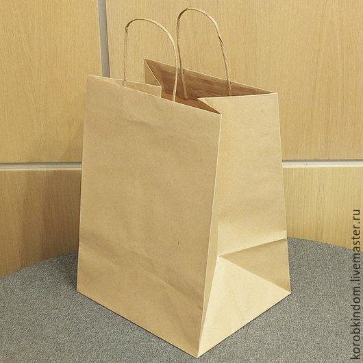 Упаковка ручной работы. Ярмарка Мастеров - ручная работа. Купить Пакет 27х37х23 крафт широкий с ручками. Handmade. Пакет