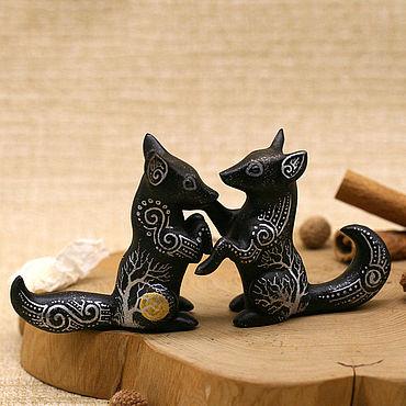 Для дома и интерьера ручной работы. Ярмарка Мастеров - ручная работа Пара Лис Лунные Странники, фигурка лисы, статуэтка лисицы, скульптура. Handmade.