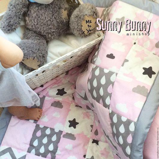 Пледы и одеяла ручной работы. Ярмарка Мастеров - ручная работа. Купить Лоскутное одеяло. Handmade. Бледно-розовый, лоскутное одеяло