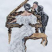 """Картины и панно ручной работы. Ярмарка Мастеров - ручная работа Картина """"Пианистка"""" вышитая . Подарок , ручная работа. Handmade."""