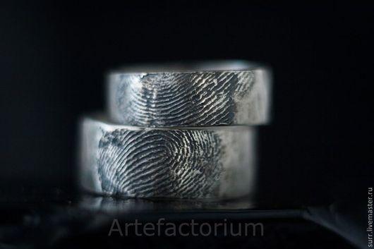 Свадебные украшения ручной работы. Ярмарка Мастеров - ручная работа. Купить Обручальные кольца с Вашими отпечатками пальца. Handmade. Серебряный