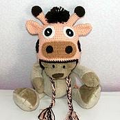 """Работы для детей, ручной работы. Ярмарка Мастеров - ручная работа Шапочка """"Жираф"""" (детская шапка зимняя теплая с ушками бежевый. Handmade."""