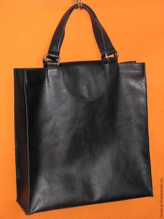 Женские сумки ручной работы. Ярмарка Мастеров - ручная работа. Купить Женская кожаная сумка-пакет. Handmade. Черный