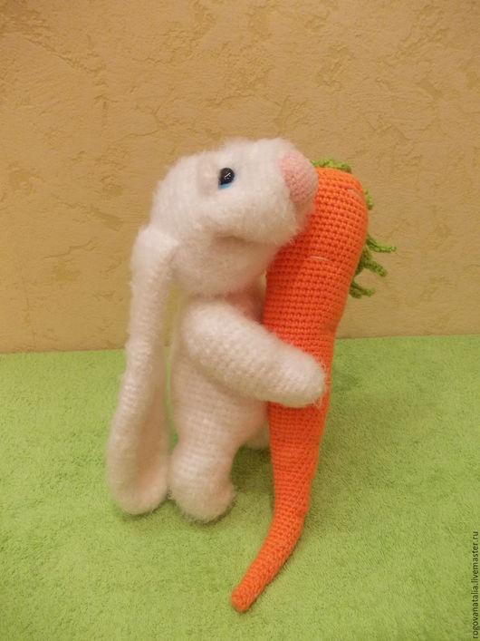 """Игрушки животные, ручной работы. Ярмарка Мастеров - ручная работа. Купить """"Зайка улыбашка"""". Handmade. Белый, зайчишка, игрушка"""