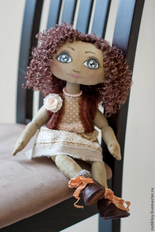 Куклы тыквоголовки ручной работы. Ярмарка Мастеров - ручная работа. Купить Ася. Handmade. Коричневый, подарок девушке, кружево хлопок
