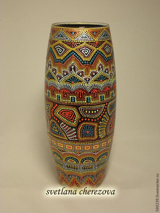 """Вазы ручной работы. Ярмарка Мастеров - ручная работа. Купить Ваза """"Кирабо"""". Handmade. Ваза, ваза стекло, контурная роспись"""