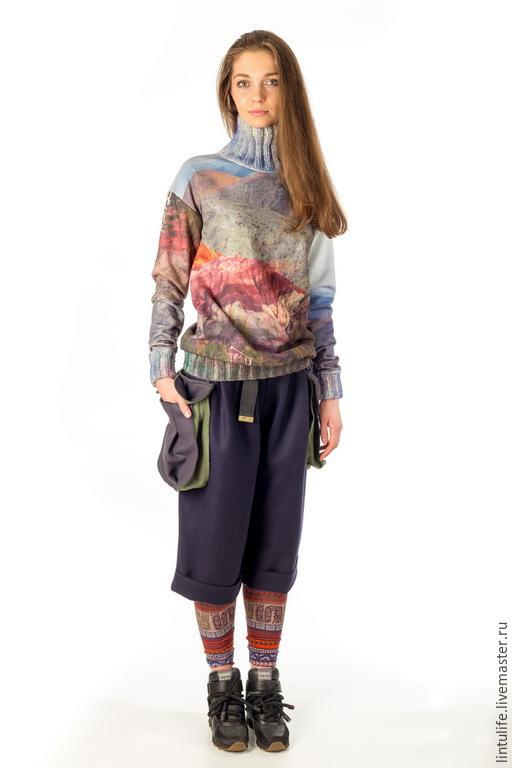 """Кофты и свитера ручной работы. Ярмарка Мастеров - ручная работа. Купить Свитшот """"Горы"""". Handmade. Разноцветный, свитшот, вязаное горло"""