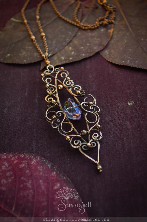 Pendants handmade. Livemaster - handmade. Buy Copper pendant Ametrine Victorian Gothic fantasy.Charoite, bright earrings design
