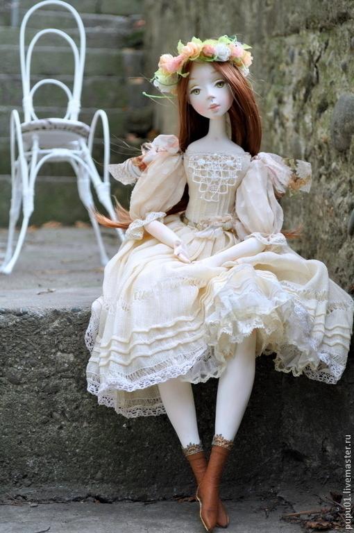 Коллекционные куклы ручной работы. Ярмарка Мастеров - ручная работа. Купить Коллекционная кукла Ева. Handmade. Бежевый, полимерная глина