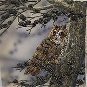 Картины и панно ручной работы. Ярмарка Мастеров - ручная работа Картина вышитая лентами Совушка. Handmade.