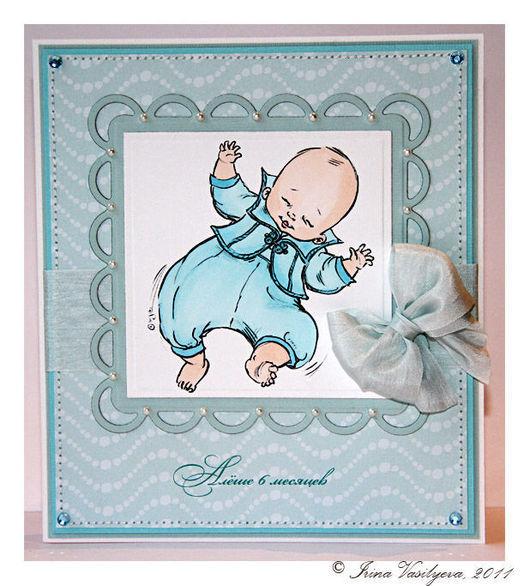 Детские открытки ручной работы. Ярмарка Мастеров - ручная работа. Купить открытка для мальчика на полгода. Handmade. Открытки ручной работы